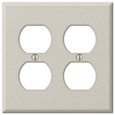 Pro Light Almond Wrinkle Steel - 2 Duplex Outlet Wallplate - Wallplate Warehouse