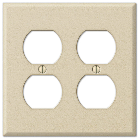 Pro Ivory Wrinkle Steel - 2 Duplex Outlet Wallplate - Wallplate Warehouse