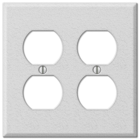 Pro White Wrinkle Steel - 2 Duplex Outlet Wallplate - Wallplate Warehouse