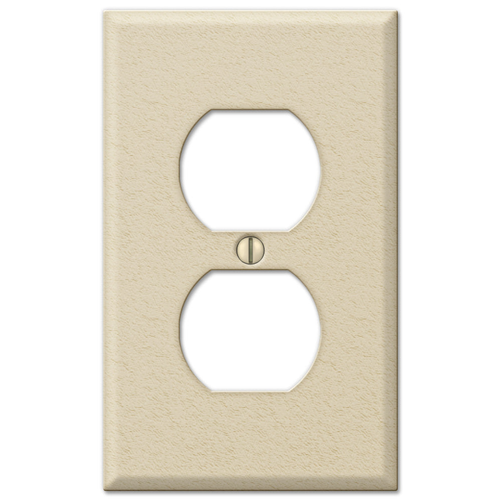 Pro Ivory Wrinkle Steel - 1 Duplex Outlet Wallplate - Wallplate Warehouse