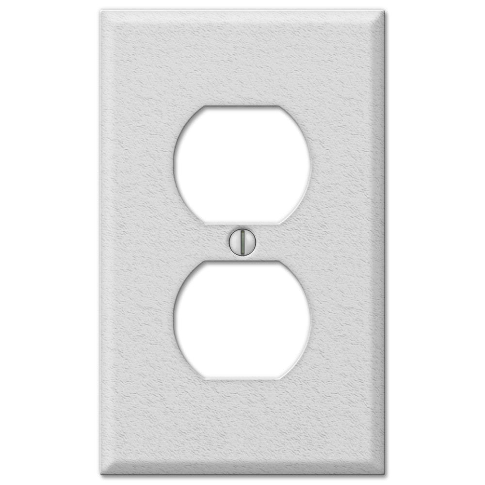 Pro White Wrinkle Steel - 1 Duplex Outlet Wallplate - Wallplate Warehouse