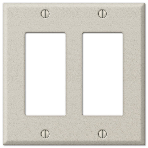 Pro Light Almond Wrinkle Steel - 2 Rocker Wallplate - Wallplate Warehouse