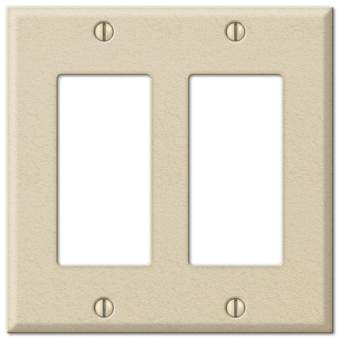 Pro Ivory Wrinkle Steel - 2 Rocker Wallplate - Wallplate Warehouse