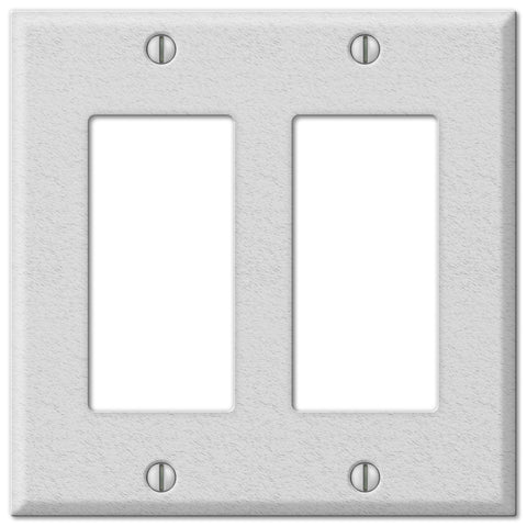 Pro White Wrinkle Steel - 2 Rocker Wallplate - Wallplate Warehouse