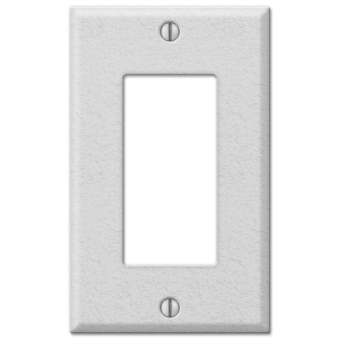 Pro White Wrinkle Steel - 1 Rocker Wallplate - Wallplate Warehouse