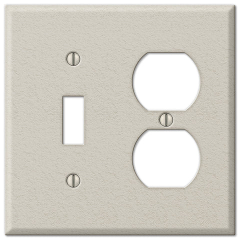 Pro Light Almond Wrinkle Steel - 1 Toggle / 1 Duplex Outlet Wallplate - Wallplate Warehouse
