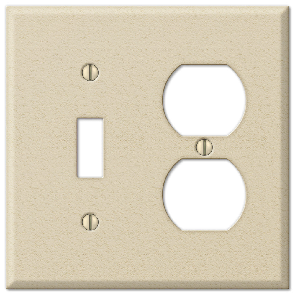 Pro Ivory Wrinkle Steel - 1 Toggle / 1 Duplex Outlet Wallplate - Wallplate Warehouse