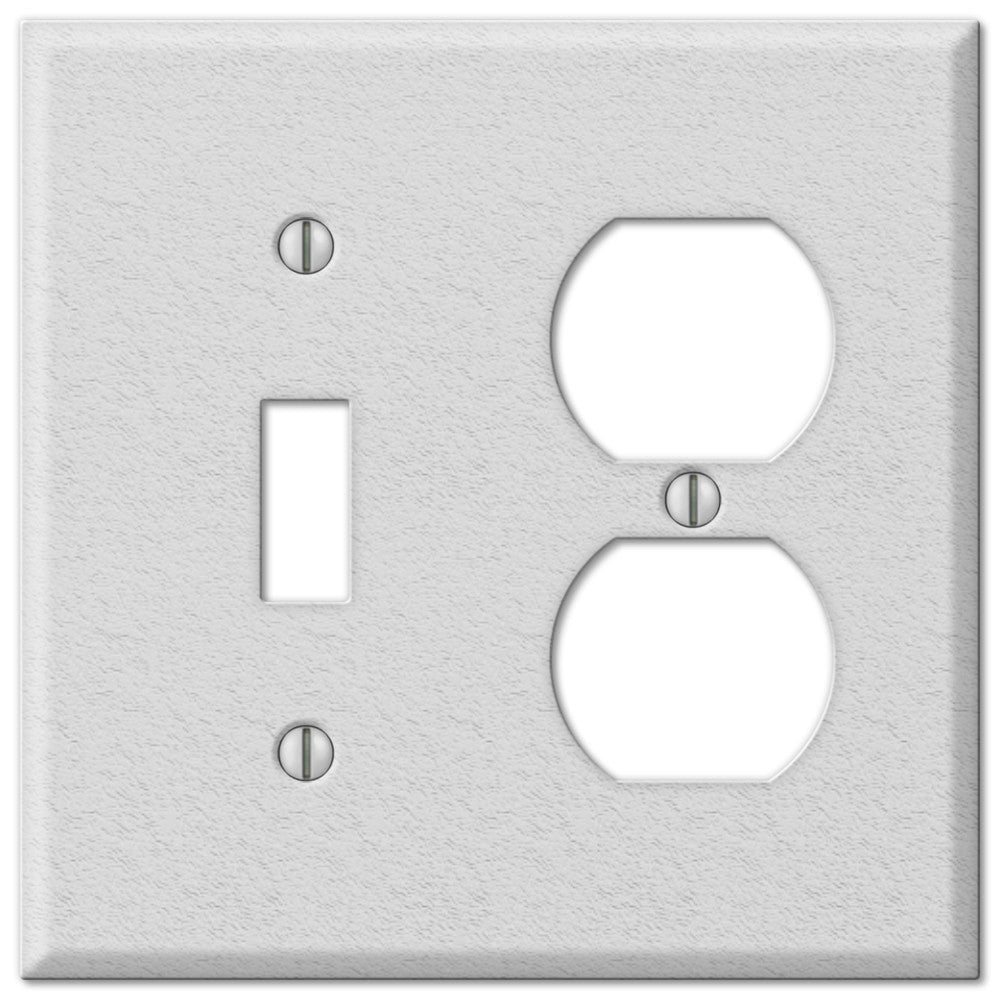 Pro White Wrinkle Steel - 1 Toggle / 1 Duplex Outlet Wallplate - Wallplate Warehouse