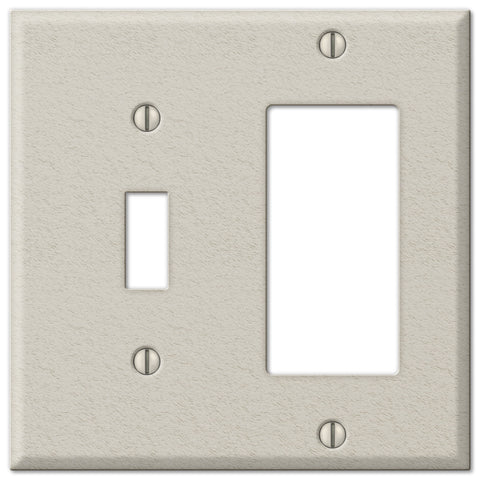Pro Light Almond Wrinkle Steel - 1 Toggle / 1 Rocker Wallplate - Wallplate Warehouse