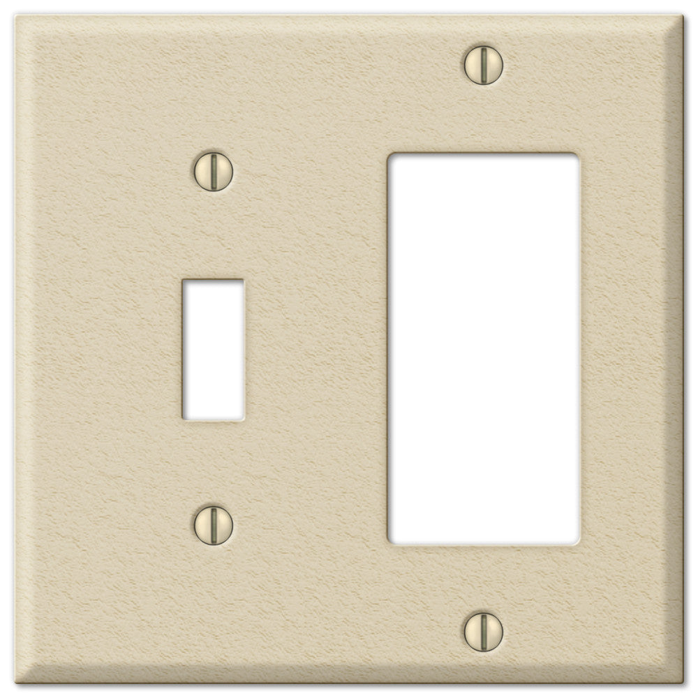 Pro Ivory Wrinkle Steel - 1 Toggle / 1 Rocker Wallplate - Wallplate Warehouse