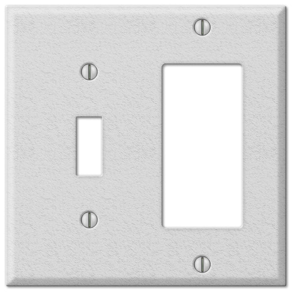 Pro White Wrinkle Steel - 1 Toggle / 1 Rocker Wallplate - Wallplate Warehouse