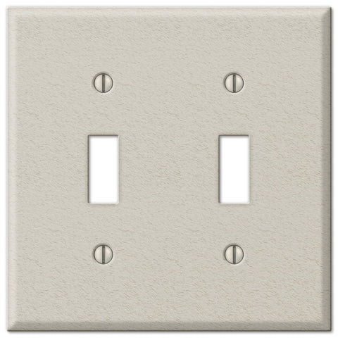 Pro Light Almond Wrinkle Steel - 2 Toggle Wallplate - Wallplate Warehouse
