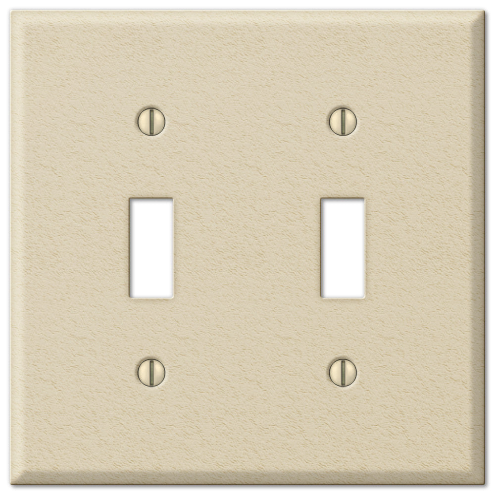 Pro Ivory Wrinkle Steel - 2 Toggle Wallplate - Wallplate Warehouse
