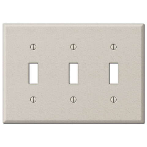 Pro Light Almond Wrinkle Steel - 3 Toggle Wallplate - Wallplate Warehouse