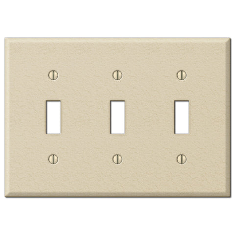 Pro Ivory Wrinkle Steel - 3 Toggle Wallplate - Wallplate Warehouse
