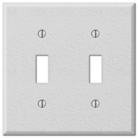 Pro White Wrinkle Steel - 2 Toggle Wallplate - Wallplate Warehouse