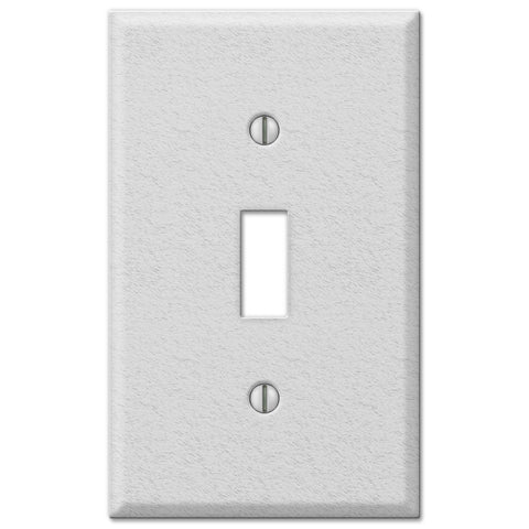 Pro White Wrinkle Steel - 1 Toggle Wallplate - Wallplate Warehouse