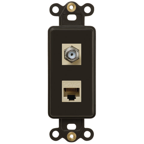 Rocker Insert Brown - 1 Cable Jack / 1 Data Jack - Wallplate Warehouse