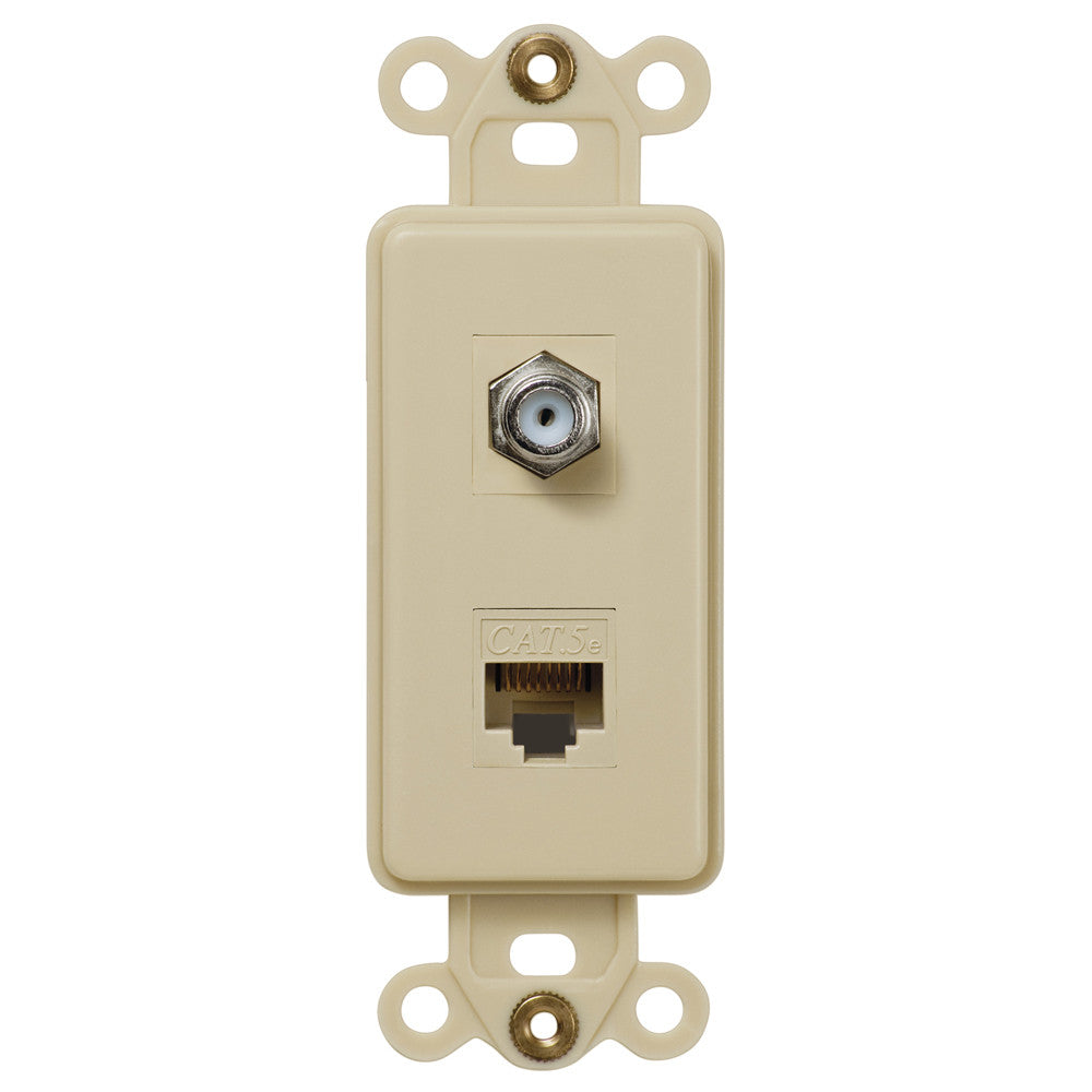 Rocker Insert Ivory - 1 Cable Jack / 1 Data Jack - Wallplate Warehouse