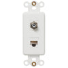 Rocker Insert White - 1 Cable Jack / 1 Data Jack - Wallplate Warehouse