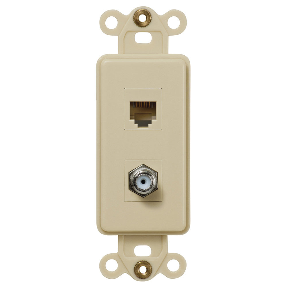 Rocker Insert Ivory - 1 Cable Jack / 1 Phone Jack - Wallplate Warehouse