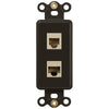 Rocker Insert Brown - 1 Phone Jack / 1 Data Jack - Wallplate Warehouse