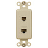 Rocker Insert Ivory - 1 Phone Jack / 1 Data Jack - Wallplate Warehouse