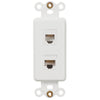 Rocker Insert White - 1 Phone Jack / 1 Data Jack - Wallplate Warehouse