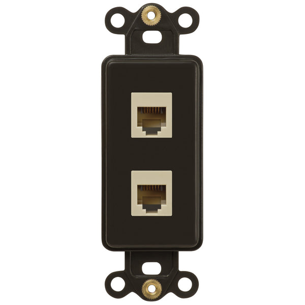 Rocker Insert Brown - 2 Phone Jack - Wallplate Warehouse