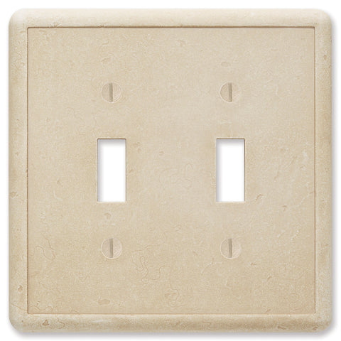 Travertine Tumbled Cast Stone - 2 Toggle Wallplate