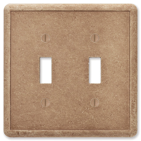 Noche Tumbled Cast Stone - 2 Toggle Wallplate