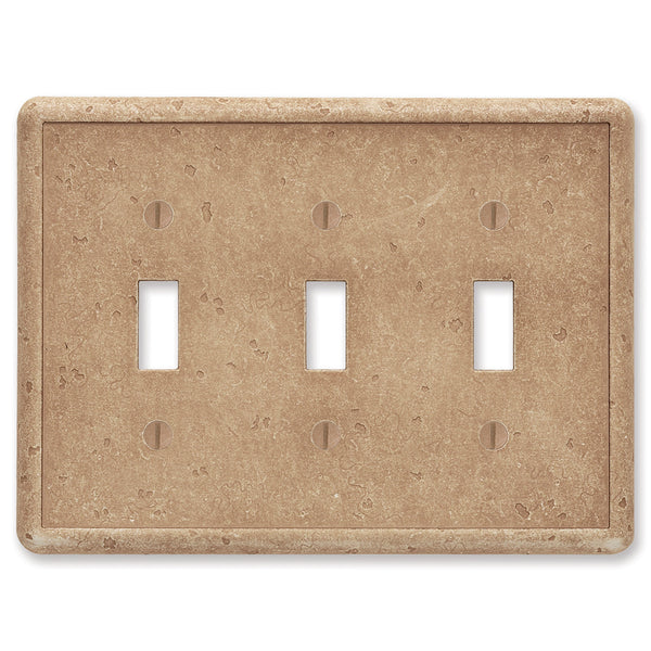 Noche Tumbled Cast Stone - 3 Toggle Wallplate