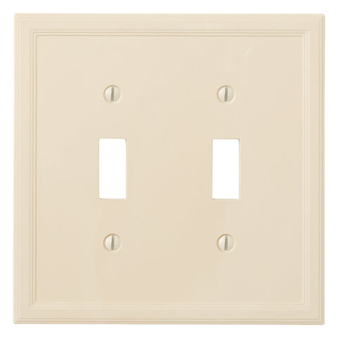 Almond Cast Stone Resin - 2 Toggle Wallplate