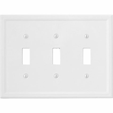 Satin White Insulated - 3 Toggle Wallplate