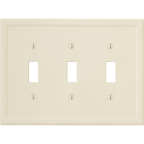 Questech Satin Ivory Insulated - 3 Toggle Wallplate