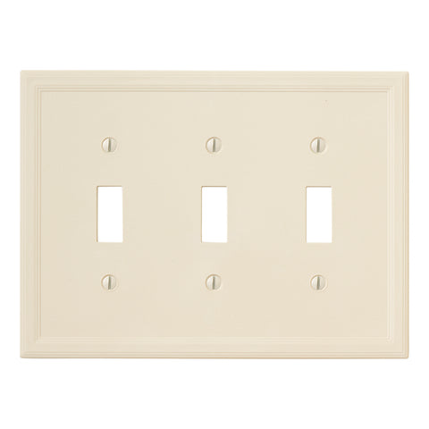 Almond Cast Stone Resin - 3 Toggle Wallplate