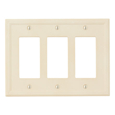 Almond Cast Stone Resin - 3 Rocker Wallplate