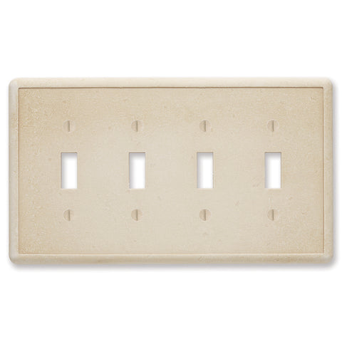 Travertine Tumbled Cast Stone - 4 Toggle Wallplate