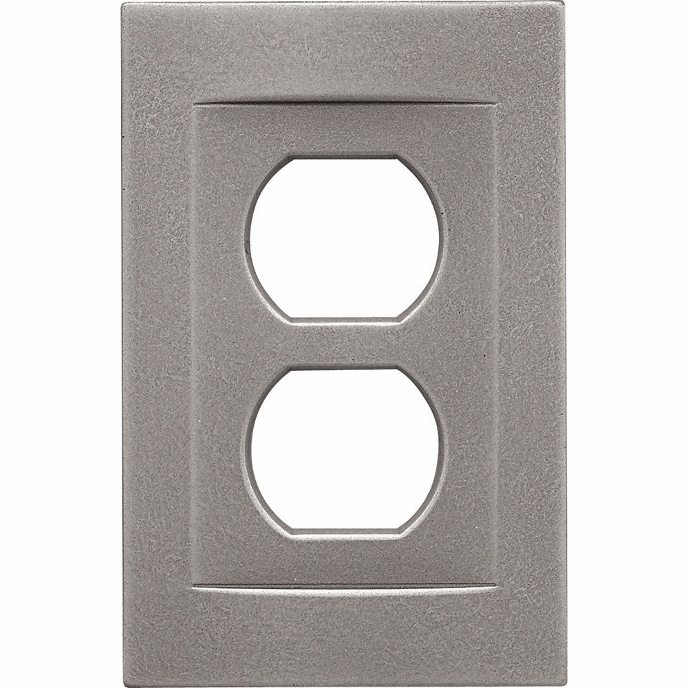 Brushed Nickel Cast Metal Magnetic - 1 Duplex Wallplate
