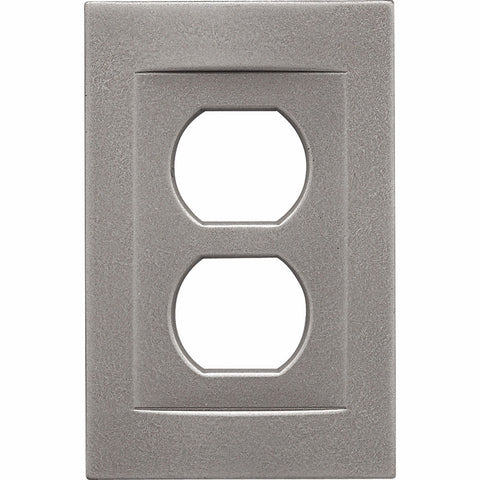Brushed Nickel Cast Metal Magnetic - 1 Duplex Wallplate - Wallplate Warehouse