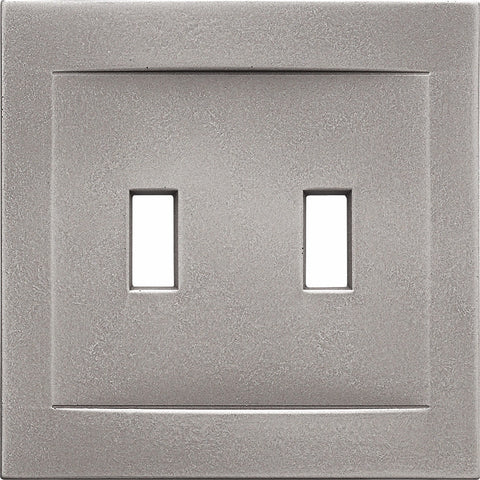 Brushed Nickel Cast Metal Magnetic - 2 Toggle Wallplate