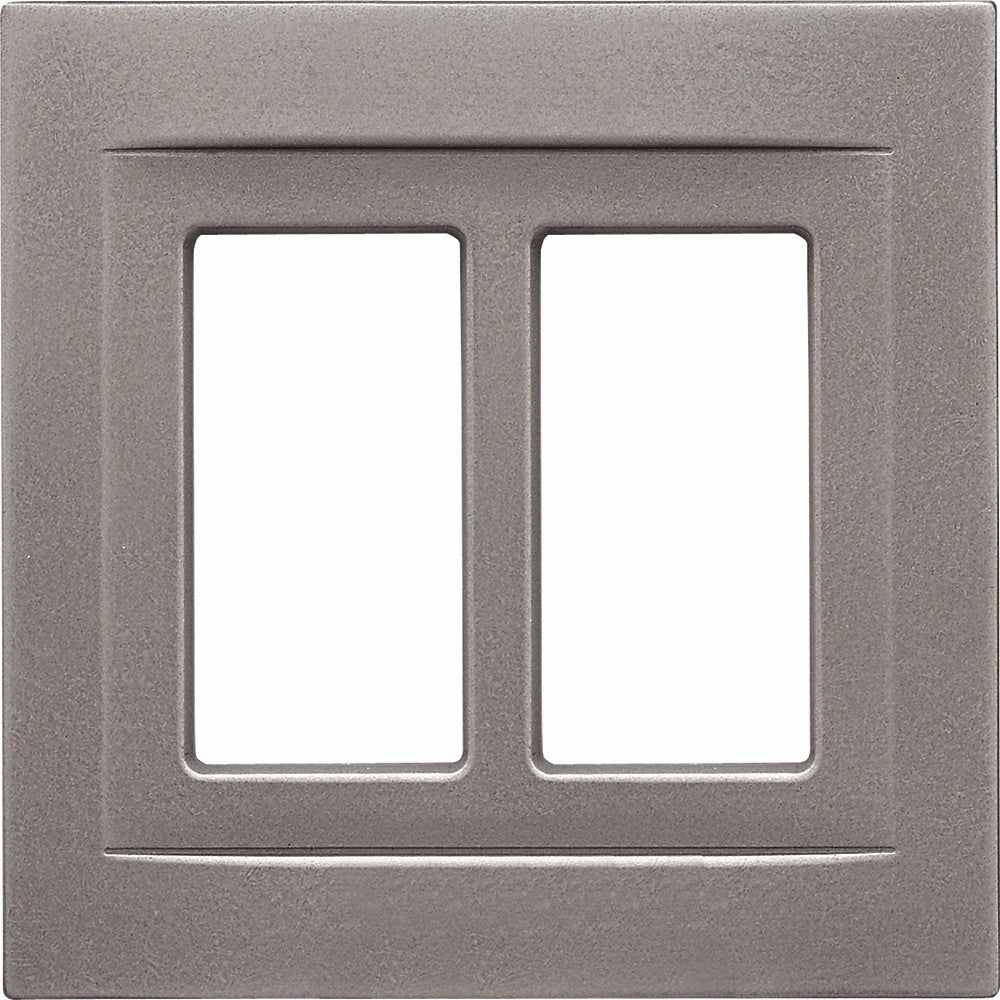 Brushed Nickel Cast Metal Magnetic - 2 Rocker Wallplate