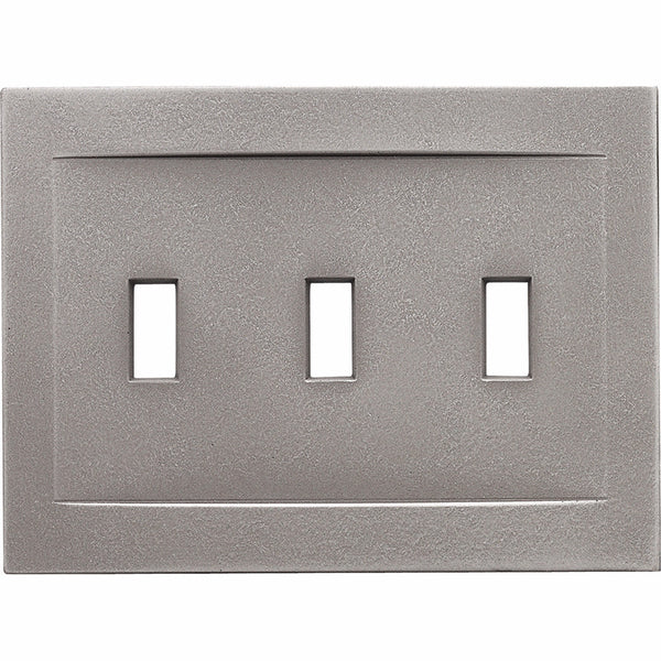 Brushed Nickel Cast Metal Magnetic - 3 Toggle Wallplate