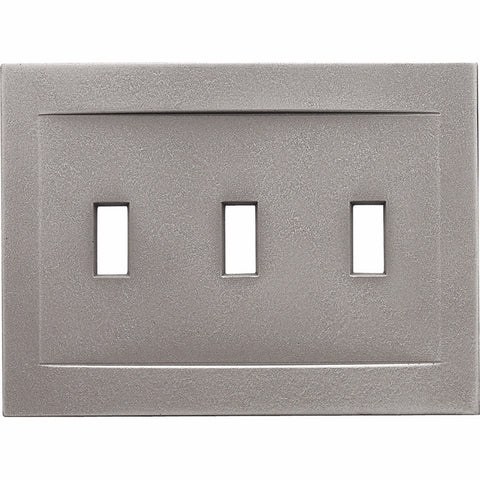 Brushed Nickel Cast Metal Magnetic - 3 Toggle Wallplate - Wallplate Warehouse