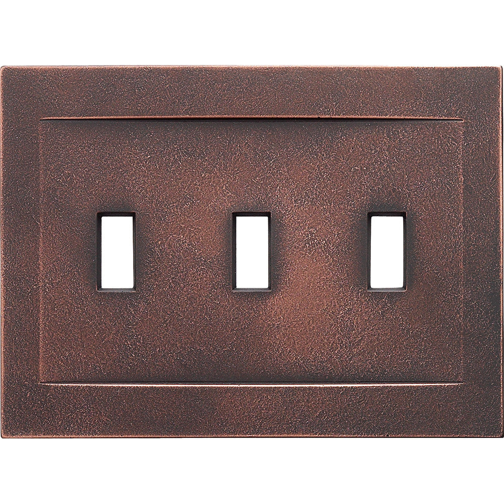 Oil Rubbed Bronze Cast Metal Magnetic - 3 Toggle Wallplate
