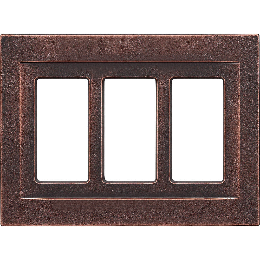 Oil Rubbed Bronze Cast Metal Magnetic - 3 Rocker Wallplate
