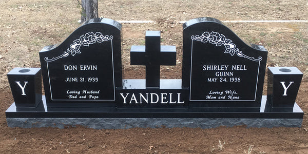 Custom cross with wings and vases