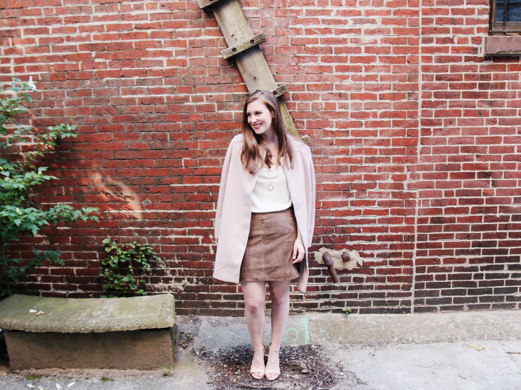 Cupcakes & Cashmere, Blush, 5 Fall Trends To Wear Now, Suede Mini Skirt, Blush Coat, Pink Coat