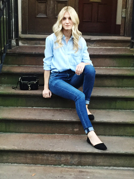 Denim on Denim Rails Crop Top Sitting On Town House Steps