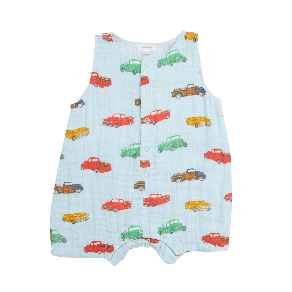 Angel Dear Vintage Trucks Shortie Romper
